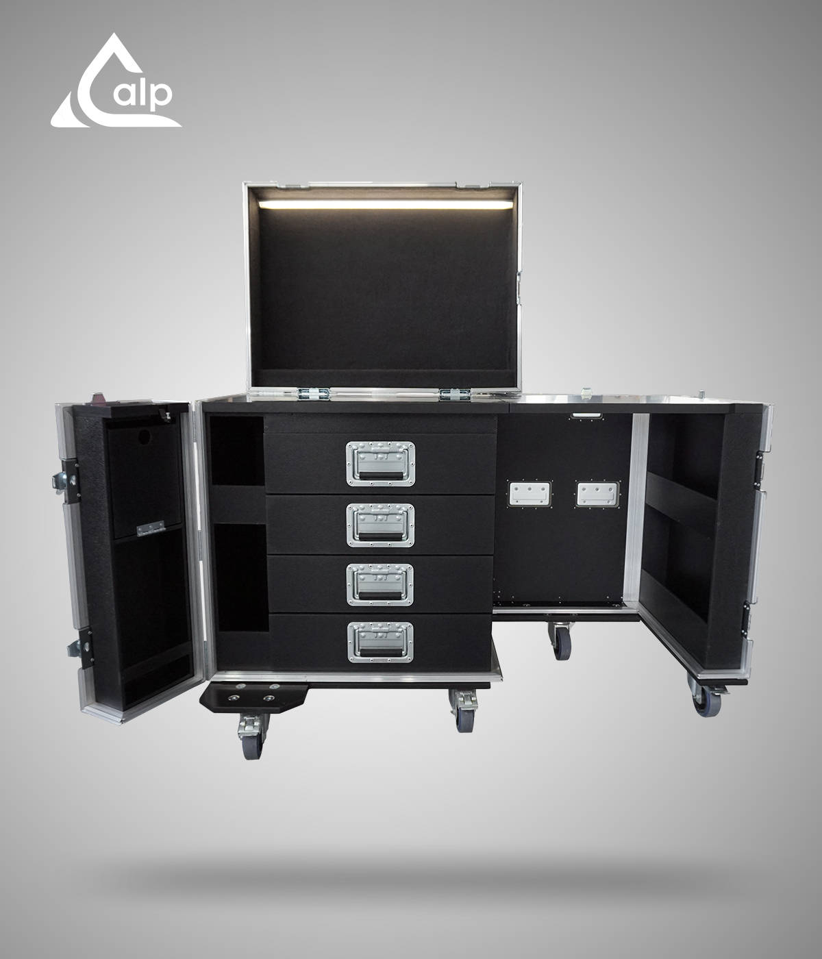 Flight case type Tool  bureau finition PVC Black