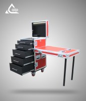 Flight case type tool case de tournée 18 U 5 tiroirs / led Red line