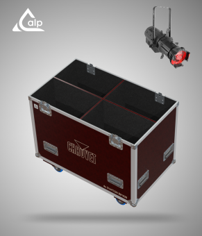 Flight case pour 4 découpes CHAUVET E- 910FC 26° lens  version TOURING Fly case for 4 CHAUVET E- 910FC 26° lens