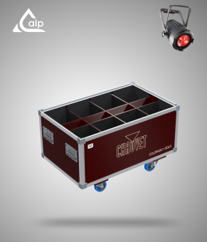 Flight case pour 8 COLORado1 Solo CHAUVET version Speedy Box, bac à accessoires Fly case for 8 COLORado1 Solo CHAUVET
