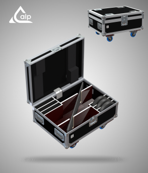 Flight case pour 6 pieds micro embase ronde version touring