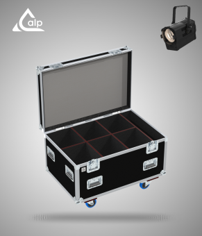Flight case pour 6 Ovation 415 VW CHAUVET version TOURING, bac à accessoires Fly case for 6 CHAUVET Ovation 415 VW