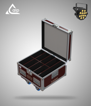 Flight case pour 8 SlimPar Q12 BT CHAUVET version touring, bac à accessoires Fly case for 8 CHAUVET SlimPar Q12 BT