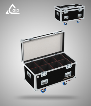 Flight case pour 8 Spectral PC 600Z Showtec version touring, bac à accessoires Fly case for 8 Spectral PC 600Z Showtec