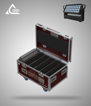 Flight case pour 6 COLORado Q40 CHAUVET version TOURING, bac à accessoires Fly case for 6 CHAUVET COLORado Q40